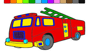 learn colors for kids with monster truck fire truck coloring