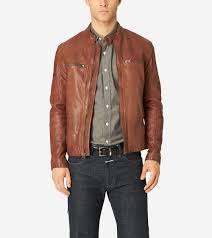 moto jacket men u0027s vintage leather moto jacket in british tan cole haan