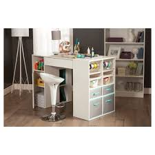 south shore crea craft table crea counter height craft table with storage pure white south