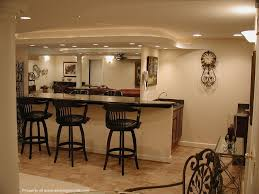 interesting basement home bar ideas with wooden stools also cream