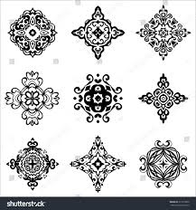 set vector graphic abstract damask ornamental stock vector