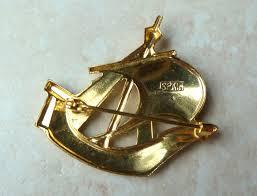 galleon ship damascene brooch