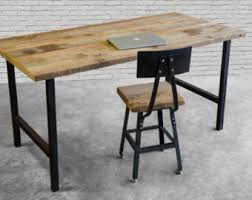 reclaimed wood writing desk reclaimed wood desk with steel h frame legs in choice of