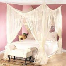Canopy Bed Curtains Queen 4 Post Bed Canopy Four Corner Point Bug Mosquito Net Queen King