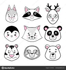 Penguin Home Decor Set Of Cute Animal Faces Black White Panda Sloth Squirrel