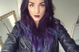 weave hairstyles with purple tips dip dyed hair dark purple blue tips ends wearing black medium hair