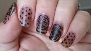 negative space nail art tutorial black roses and polka dots