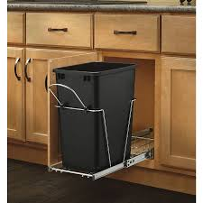 cabinets u0026 storages black plastic pull out trash bin rustic wood