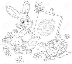 happy little rabbit drawing easter egg on an easel a black and