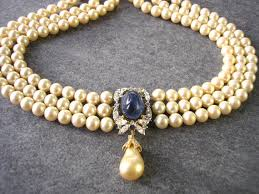 sapphire pearl necklace images Sapphire pearl bridal choker great gatsby jewelry pearl necklace jpg