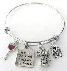 hand charm bracelet images Toes in the sand wine in my hand charm bangle beach jpg