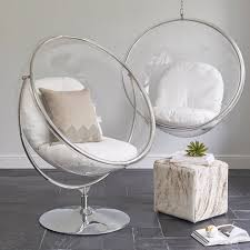 wallace sacks ivory clear bubble inspired chair on floor stand