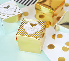 personalized wedding favor boxes metallic foil favor wedding mini cube boxes set of 12