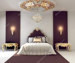 luxury double bedroom with golden furniture in royal interior