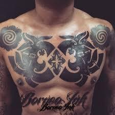 eddieborneoink iban pala tuang design chest piece chest piece