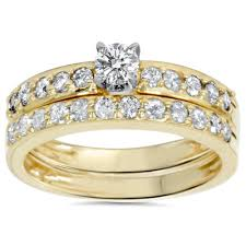 pretty rings pictures images 3 3 carat t g w cz 14kt gold plated wedding ring set jpeg