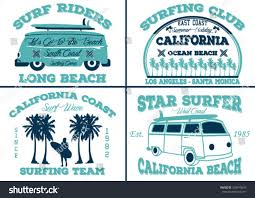 vintage surf car surfer vector setvintage surf elementsvector retro stock vector