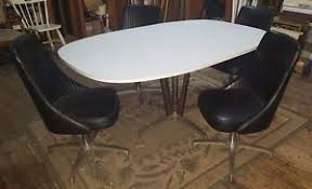 chromcraft table and chairs vintage chromcraft white formica dining table w 4 black vinyl swivel