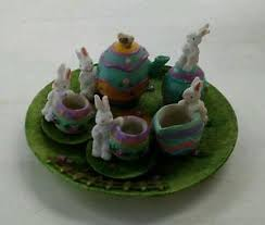 bunny tea set 10pc miniature easter bunny tea set ebay
