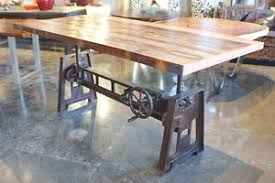 Industrial Table L 80 L Crank Dining Desk Table Vintage Rust Industrial Distress