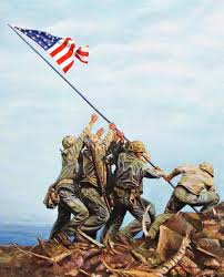 Marines Holding Flag The Purple Heart Foundation Raising Old Glory The Photograph