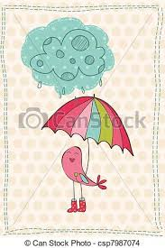Invitation Greetings Eps Vector Of Autumn Card With Bird In Rain Boots For Scrapbook