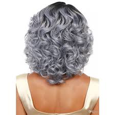 Synthetic Vs Human Hair Extensions by Granny Grey Ombre Wavy Medium Long Wavy Wigs Synthetic Hair Wig