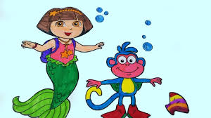dora the explorer with monkey boots coloring pages for children
