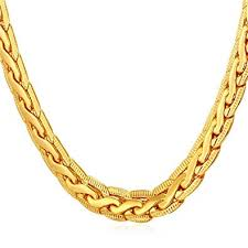 plated chain necklace images U7 men punk jewelry copper based 18k yellow gold plated chain jpg