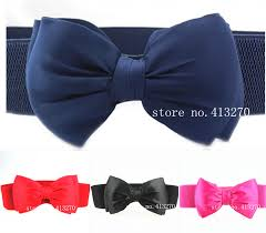bow belts new fashion women sweet chiffon elastic big bow belt candy
