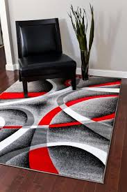 Black And White Modern Rugs Black And Area Rug 2305 Gray White Swirls 5 2 X7