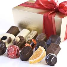 belgian chocolate assortment mixed in ballotin gift box by