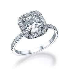 gold engagement rings cushion cut 1 75 ct halo sidestone engagement ring white gold