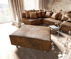 couch mit hocker eckcouch clovis braun antik optik mit hocker ottomane links