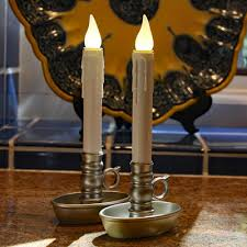 set of 2 warm white led window candles pewter base timer