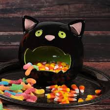 dining room cool cat candy bowl halloween party decor glossy
