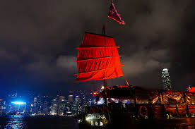 hong kong light show cruise a junk boat tour of victoria harbour