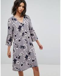 soaked in luxury lyst soaked in luxury 3 4 sleeve floral shift dress in gray