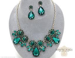 green crystal necklace set images Emerald green bridal statement necklace set crystal wedding jpg