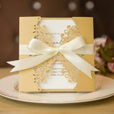 diy invitations formal gold laser cut wedding invitation cards with band swws007
