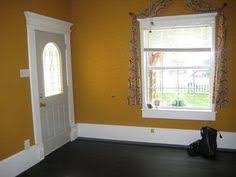country cozy entryway yellow walls and dark floors can really