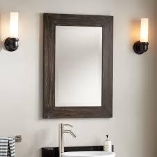 osa teak beveled mirror rustic brown bathroom