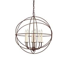 shop jvi designs 22 in 6 light rust wrought iron globe chandelier