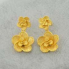 trendy gold earrings flower gold earring