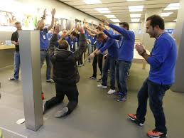 picture of first guy in line at an apple store in germany on his