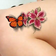 5 pcs per set 3d flower and butterfly tatoo temporary