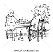 drawings of sketch of two friends in a cafe at a table drinking