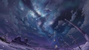 winter anime wallpaper hd shooting stars wallpaper wallpapersafari