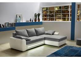 canapé d angle blanc et gris canapé d angle basel avec fonction lit tissu similicuir blanc gris