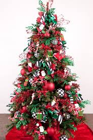 Tall Indoor Pine Tree bined Red Ribbon And Hanging Christmas